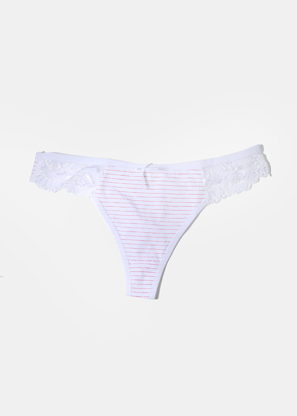 Side Lace Striped Thong Panty- White