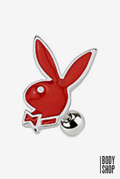 Playboy Bunny Cartilage Barbell - Red