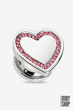 Heart Top with Multi CZ Plug-Pink 2GA