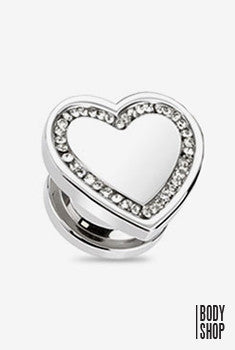 Heart Top with Multi CZ Plug-Clear 2GA