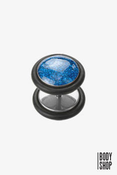 Assorted Fancy Glitter 316L Surgical Steel Fake with O-Ring Plug - Blue