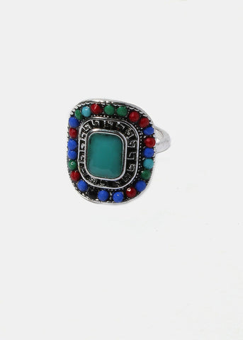 Rectangle Multi-Color Stone Ring