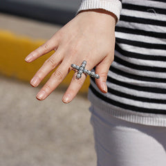 Sideways Pearl Cross Ring