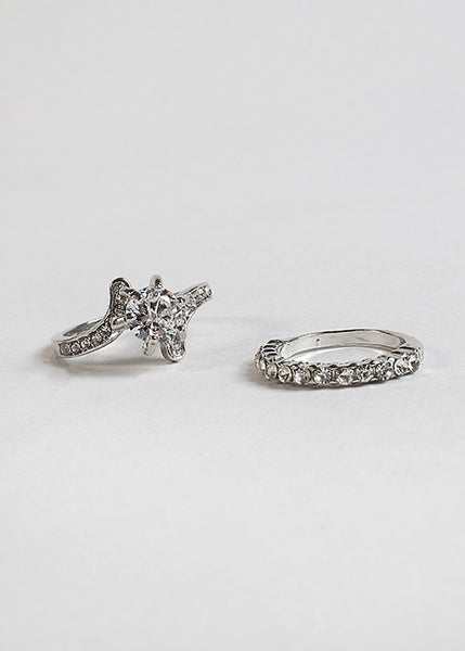 2 Piece Rhinestone Ring Set