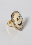 Gold Rhinestone Emoji Medallion Ring