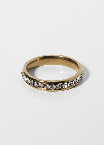 Gold Rhinestone Band Ring