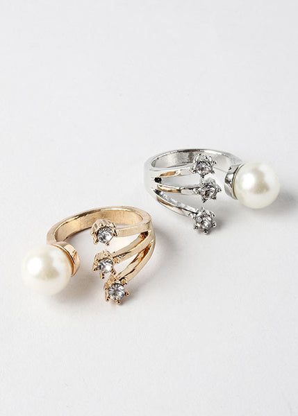 Large Pearl & Rhinestone Ring