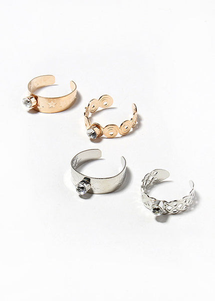 6 Piece Rhinestone Toe Rings