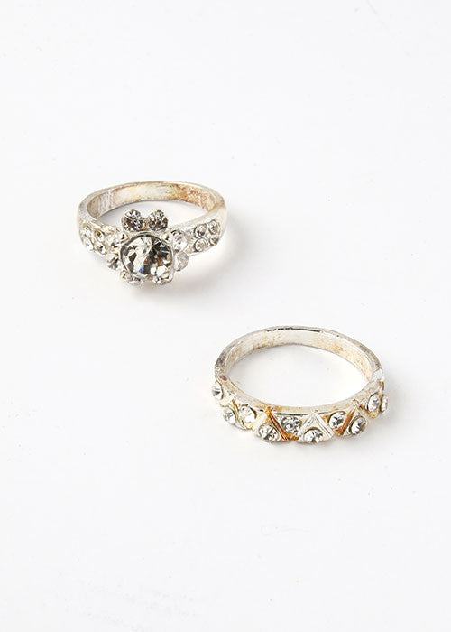 2 Piece Rhinestone Flower Ring Set