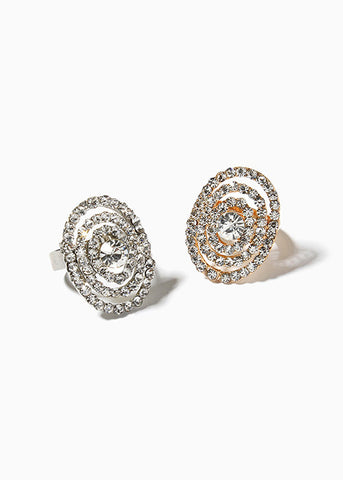 Rhinestone Covered Oval Ring
