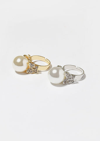 Rhinestone Butterfly & Pearl Ring