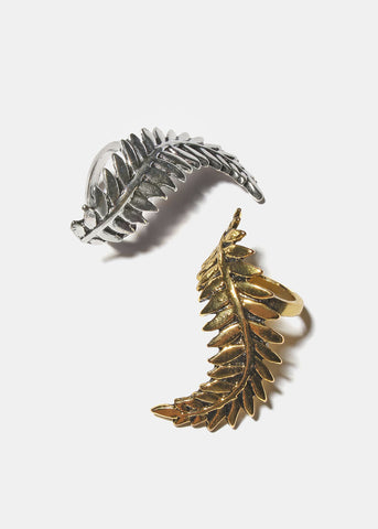 Long Metal Leaf Ring