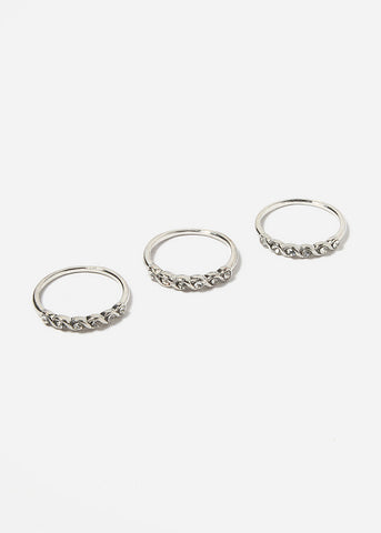 3 Piece Twist Rhinestone Ring Set