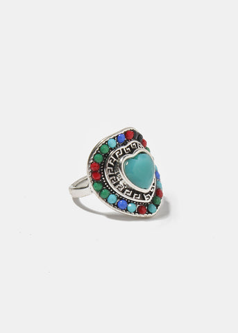 Multi-Color Stone Heart Ring