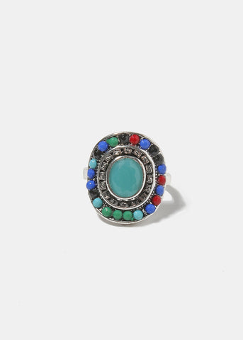 Round Multi-Color Stone Ring