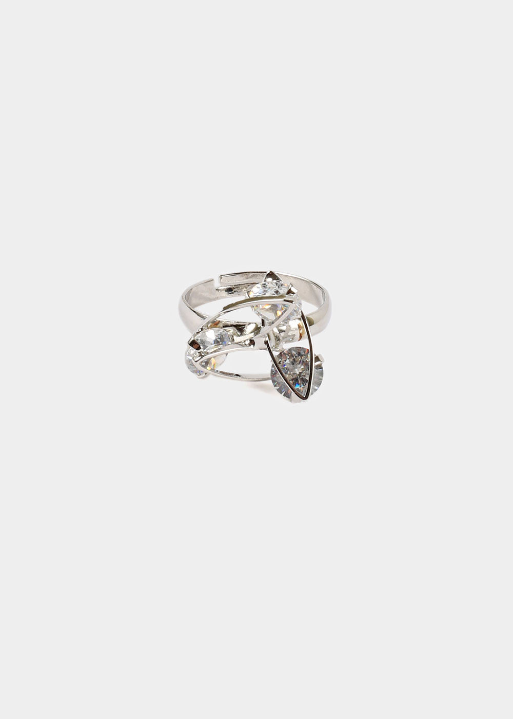 Silver Triple Rhinestone Ring