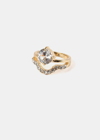 Gold Rhinestone Arch Gemstone Ring