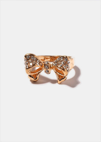 Gold Rhinestone Bow Ring
