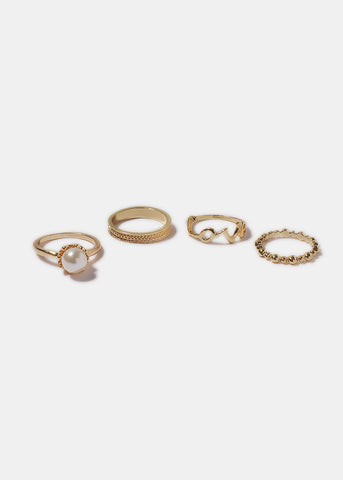 4 Piece Love & Pearl Rings