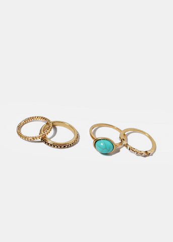 4 Piece Turquoise Stone Ring Set