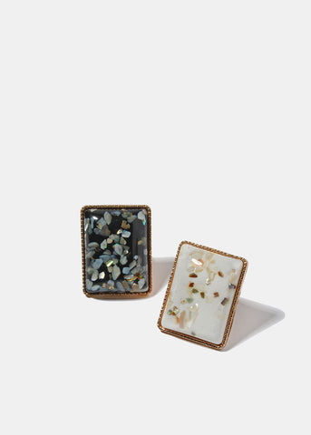 Rectangle Confetti Stone Ring