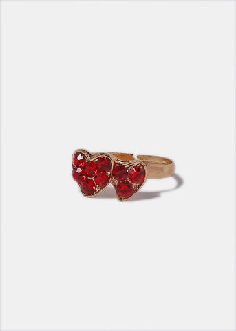 Double Rhinestone Heart Ring