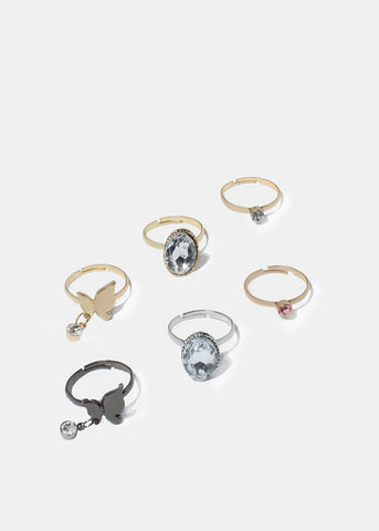 3 Piece Oval Gem & Butterfly Ring Set