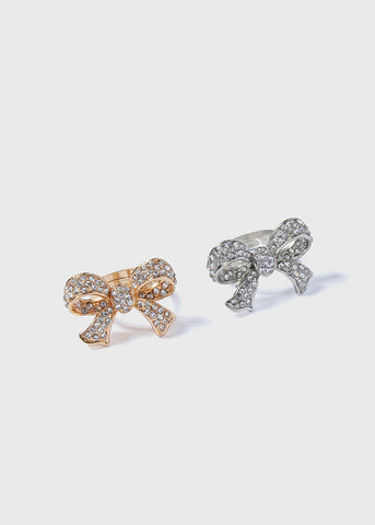 Rhinestone Pave Bow Ring