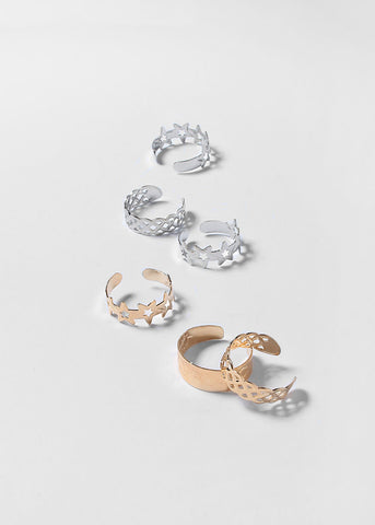 10 Piece Star & Heart Toe Ring Set