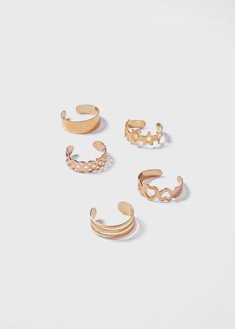 10 Piece Swirl Toe Ring Set