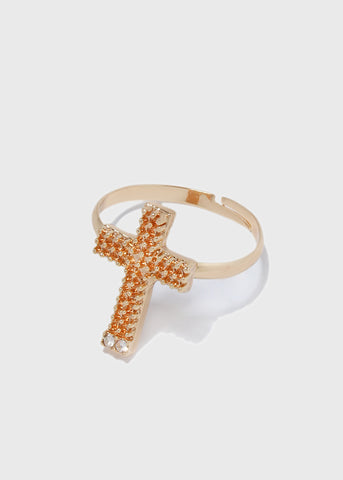 Textured Cross Ring