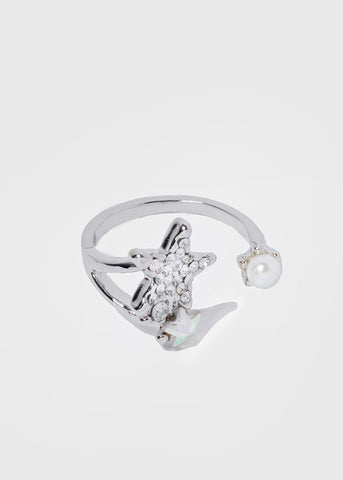 Rhinestone Star & Pearl Ring