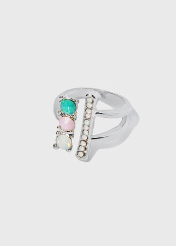 Bar & Gem Cuff Ring