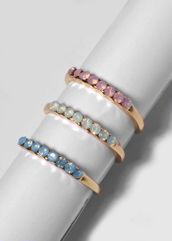 5 Piece Gemstone Midi Ring Set