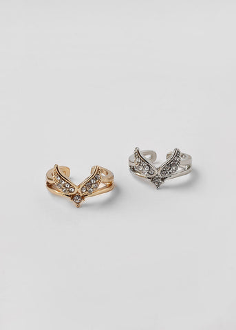 Rhinestone Winged Cuff Ring