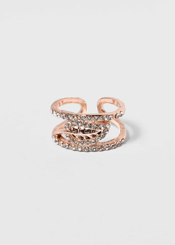 Rhinestone Leaf Cuff Ring