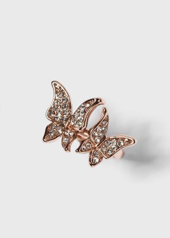 Double Butterfly Rhinestone Ring
