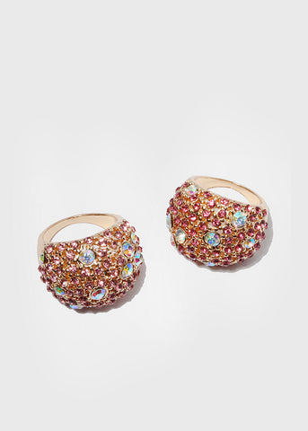 Colored Rhinestone Dome Ring