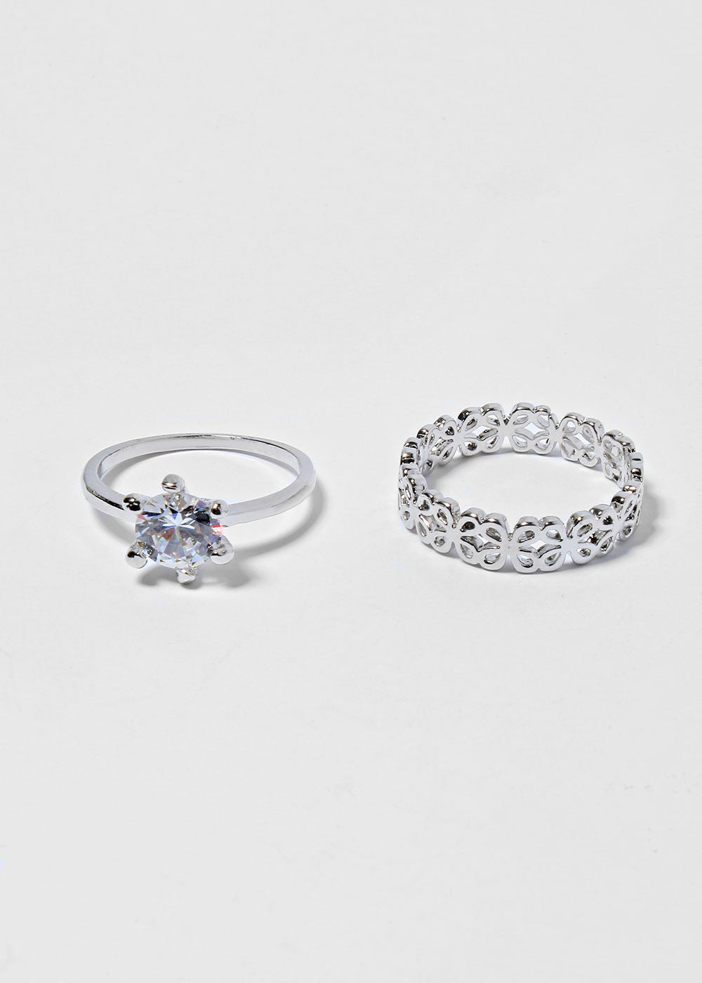 2 Piece Flower Band & Gemstone Ring Set