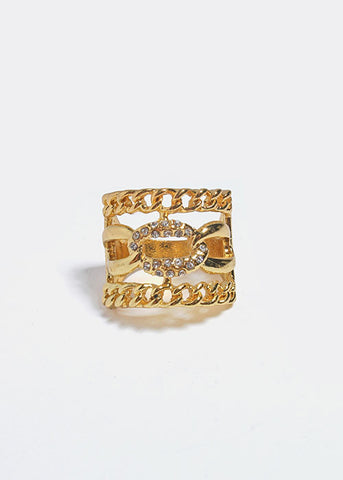 Chain Link Rhinestone Ring
