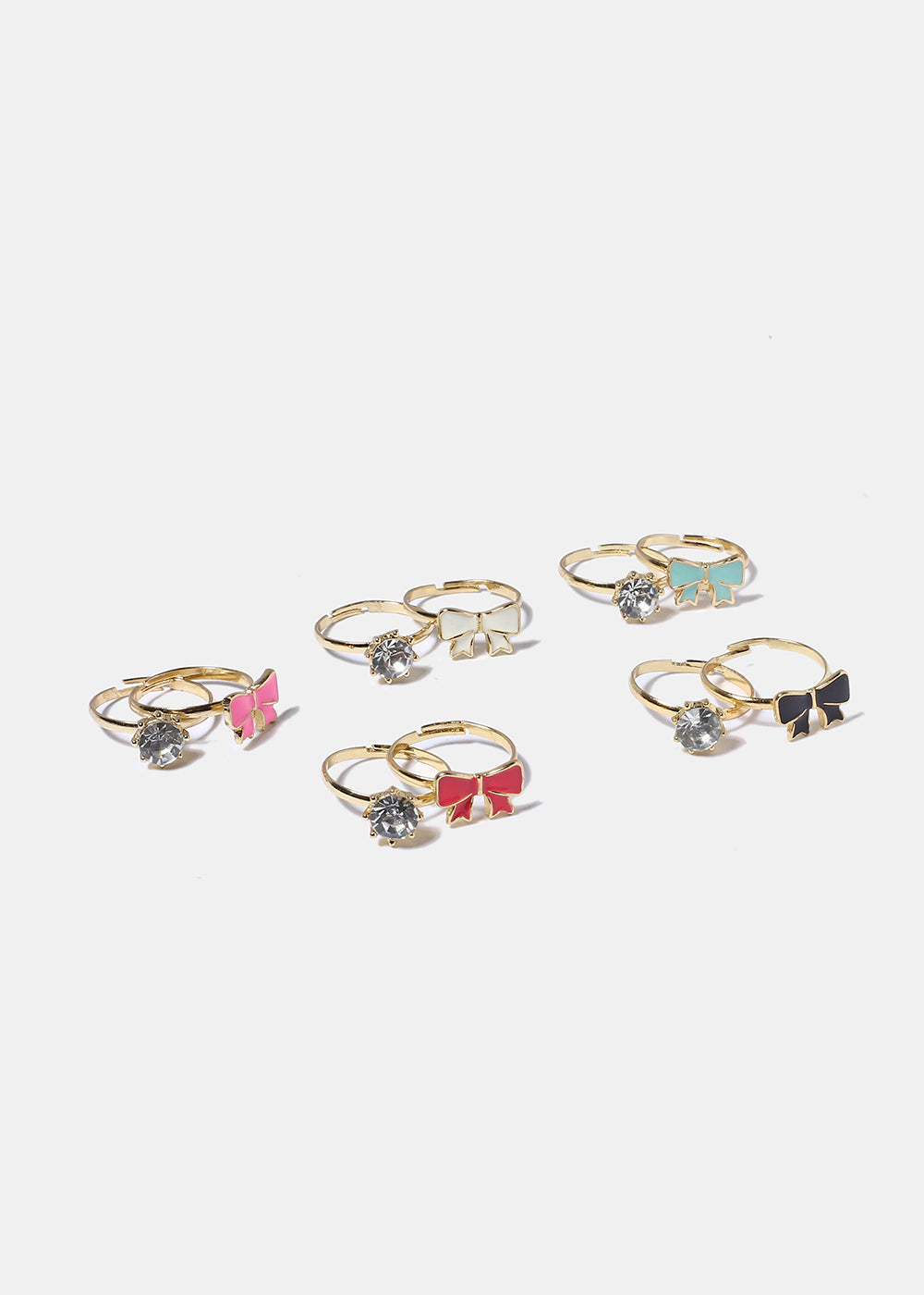 2 Piece Bow & Gem Ring Set