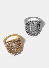 Rhinestone Pavé Shield Ring
