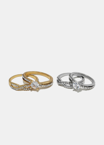 2-Piece Solitaire Gem Ring Set