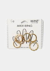 6-Piece V Midi Ring Set