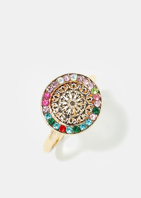 Rhinestone Circle Ring