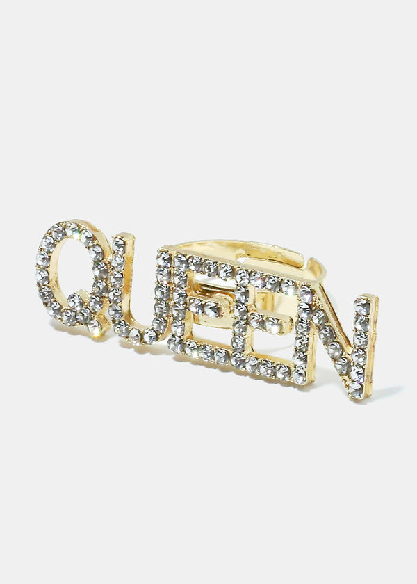 """QUEEN"" Rhinestone Ring"