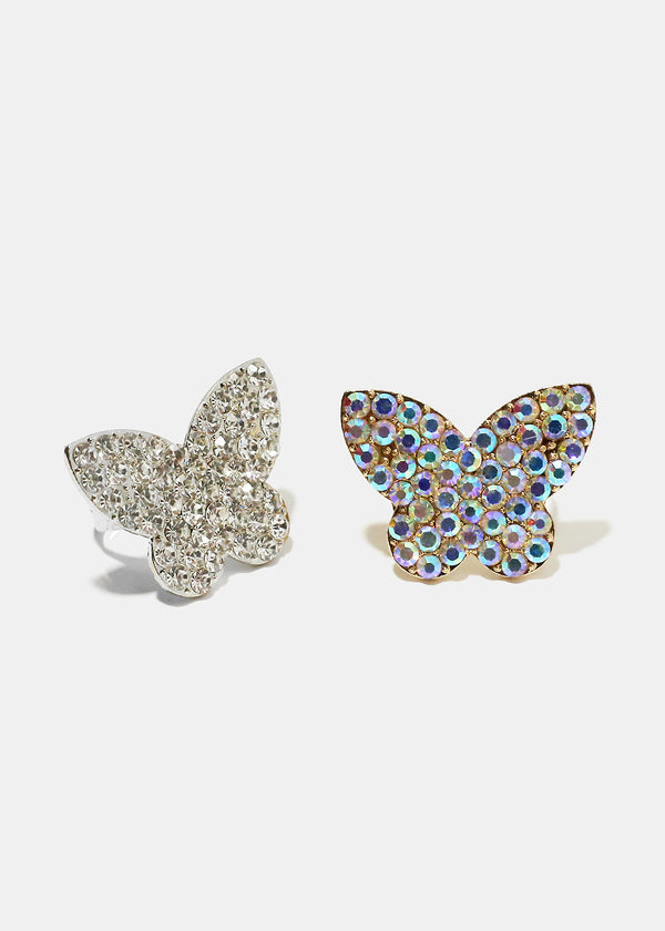 Rhinestone Studded Butterfly Ring