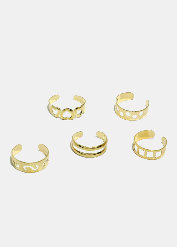 10-Piece Multi Design Toe Rings