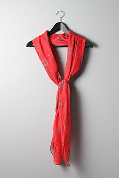 Skull Print Scarf- Red