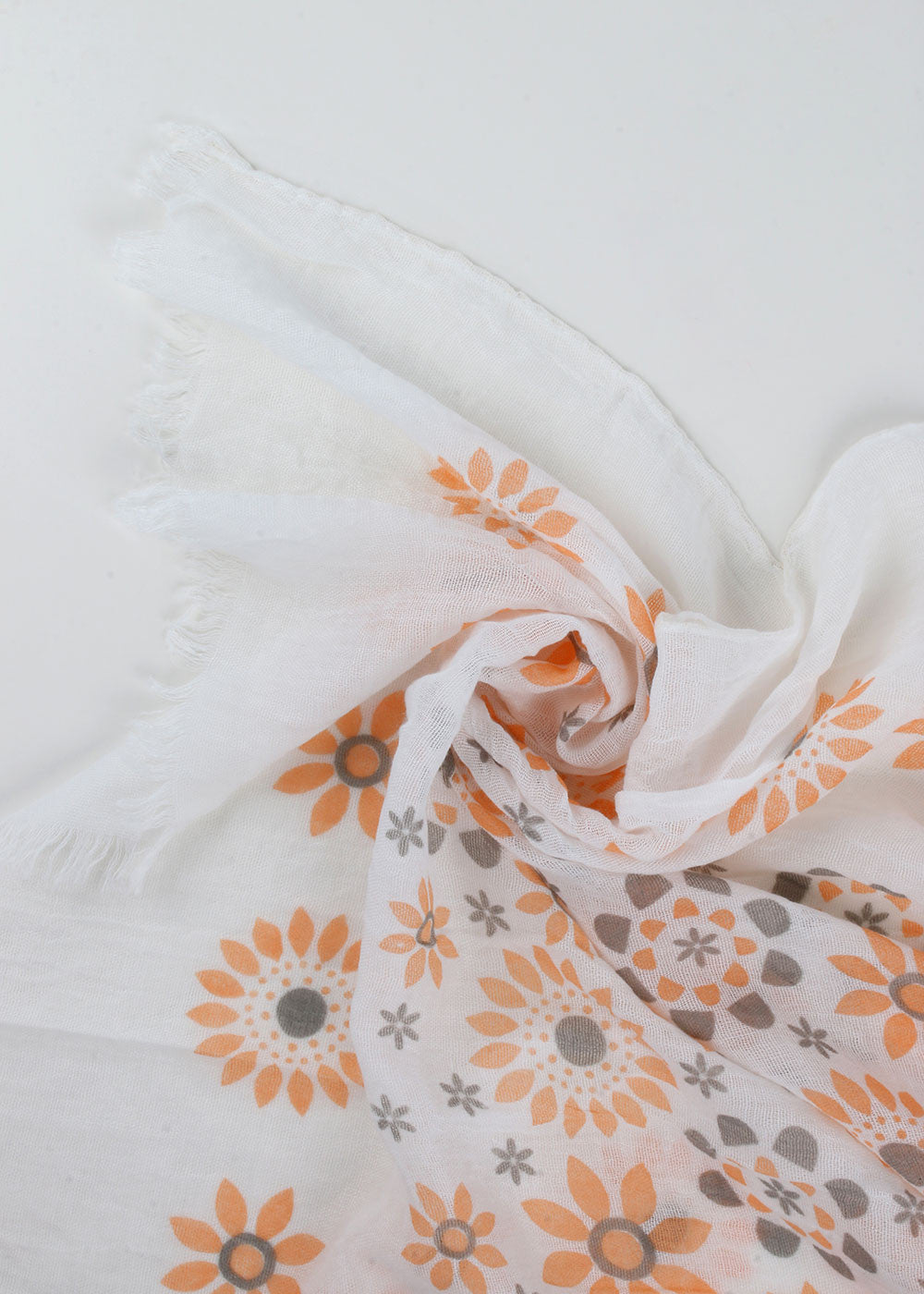 Lightweight Boho Flower Scarf- Orange